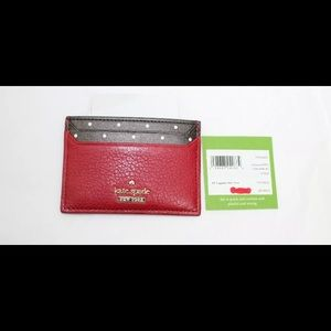 Kate Spade Red & Blake Street Dot Card Holder